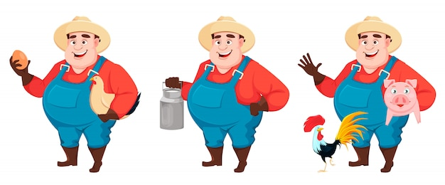 Fat farmer, agronomist, set of three poses character