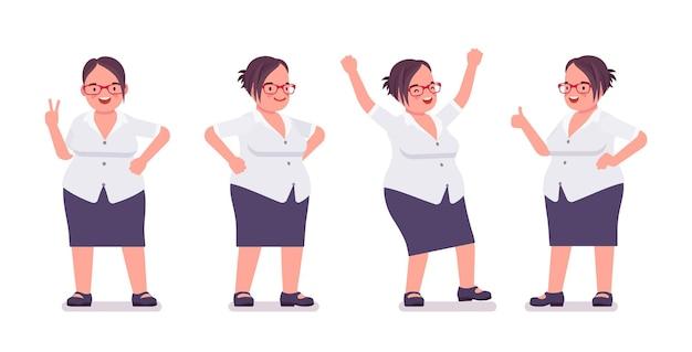 긍정적 인 감정에 바쁜 뚱뚱한 여성 점원