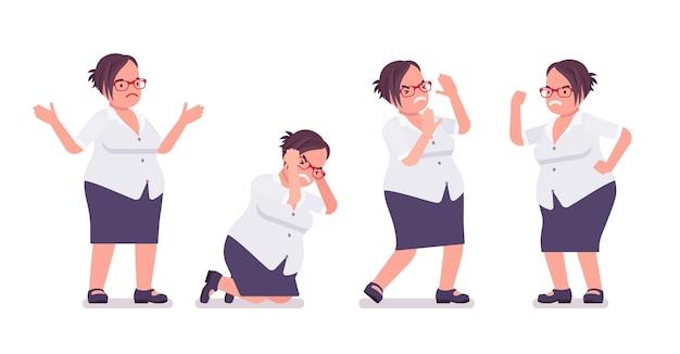 긍정적인 감정에 뚱뚱한 여성 점원