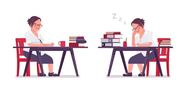 일하는 뚱뚱한 여성 점원, 책상에서 자고