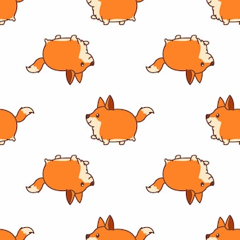 Fat fox walking cartoon seamless pattern vector