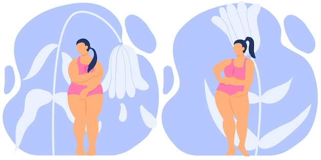 Fat girl is ashamed of her body  self love fat woman with curvy figure in lingerie stock vector