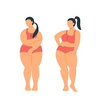 Толстая девушка любит себя толстая женщина с пышной фигурой в нижнем белье Premium векторы