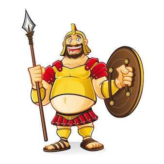 Fat goliath cartoon was laughing fun while holding a spear and a shield