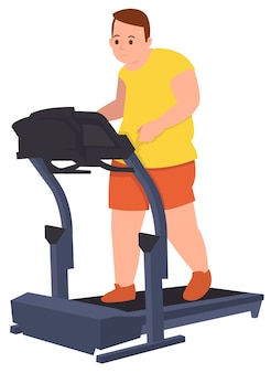 Fat guy doing workout running to loss his weight in a gym