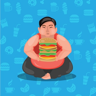 Fat guy and hamburger. obesity man and burger. illustration