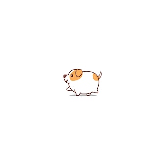 Fat jack russell dog walking icon