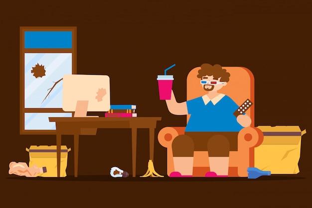 뚱뚱한 게으른 남자 라이프 스타일, 앉아 상태 그림. 더러운 방에 뚱뚱한 캐릭터 남자, 그의 몸에 무책임한 태도