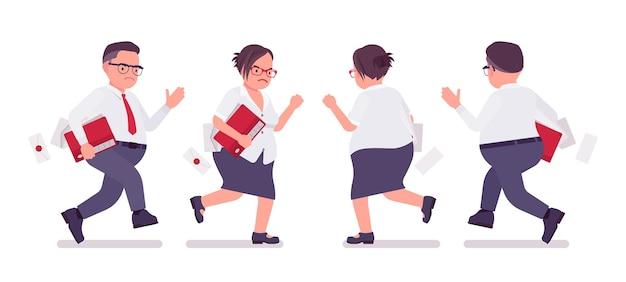 뚱뚱한 남성과 여성 점원이 달리고 있습니다. 무거운 중년 사업가, 사무실 관리자 및 공무원, 플러스 사이즈 정장을 입은 전형적인 직원. 벡터 평면 스타일 만화 일러스트 레이 션