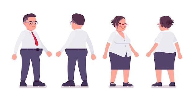 뚱뚱한 남성과 여성의 점원이 서 있습니다. 무거운 중년 사업가, 사무실 관리자 및 공무원, 플러스 사이즈 정장을 입은 전형적인 직원. 벡터 평면 스타일 만화 일러스트 레이 션