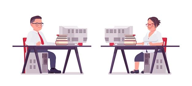뚱뚱한 남성과 여성 점원이 책상에 앉아 컴퓨터 작업을 합니다. 무거운 중년 사업가, 사무실 관리자 및 공무원, 일반 직원. 벡터 평면 스타일 만화 일러스트 레이 션
