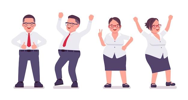 뚱뚱한 남자, 여자 점원, 긍정적인 감정