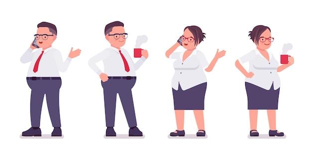 뚱뚱한 남성, 여성 점원은 머그, 전화를 들고 서 있습니다. 무거운 중년 사업가, 사무실 관리자, 공무원, 플러스 사이즈 정장을 입은 전형적인 직원. 벡터 평면 스타일 만화 일러스트 레이 션