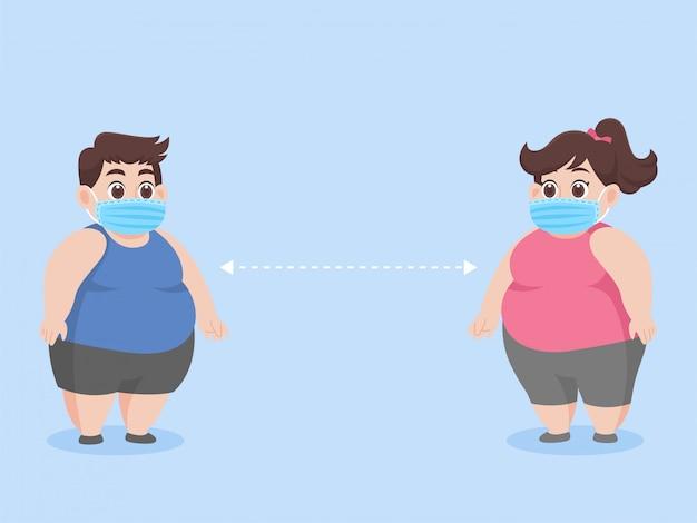 太った男と太った女性新しい通常の生活コロナウイルスを防ぐための外科用保護医療マスクを身に着けている人々、ヘルスケアの概念。