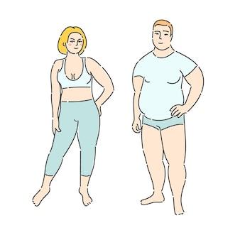 흰색 바탕에 뚱뚱한 남자와 여자입니다. 평면 디자인, 벡터 일러스트 레이 션입니다.