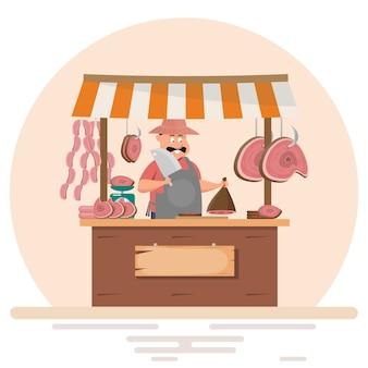 Fat man butcher offering fresh meat at pork chop store