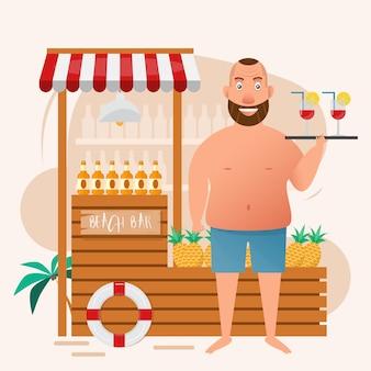 Толстый человек, проведение коктейль-бокал на пляже бар