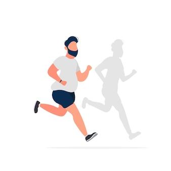 Толстяк бежит. тень худого человека. кардио тренировки, похудание. концепция похудения и здорового образа жизни. вектор.