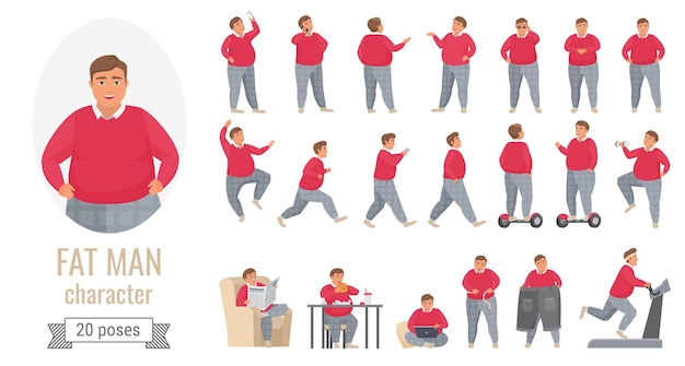 Fat man poses illustration set