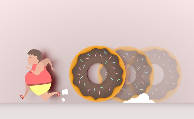 Fat man runaway from donut vector illustration