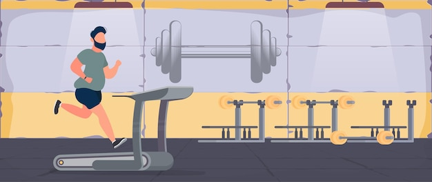 Fat man runs on a treadmill in the gym. the concept of losing weight and a healthy
