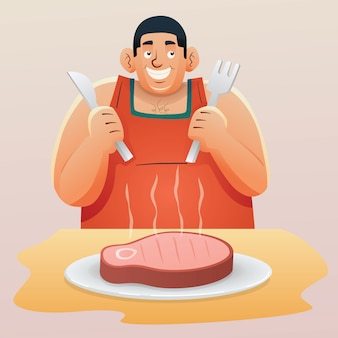 Fat man with delicious steak