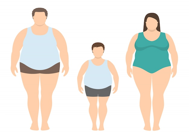 Fat man, woman and child in flat style. obese family.