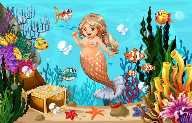 Fat mermaid and fish in the sea
