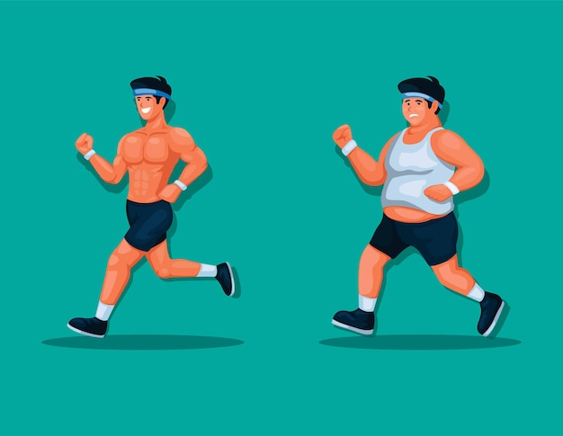 Fat and muscle man running jogging exercise for healthy lifestyle illustration vector