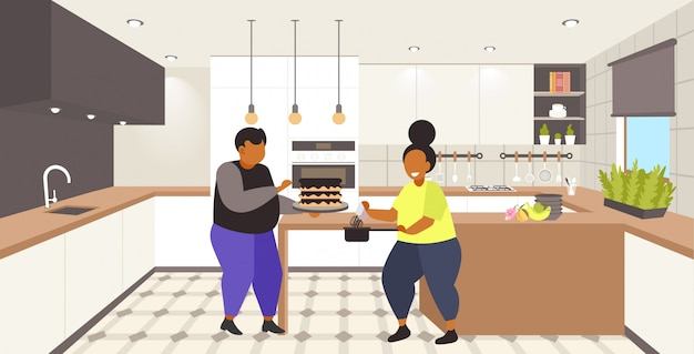 脂肪質の肥満クーペ調理甘い自家製デザート太りすぎの男性女性ケーキ不健康な栄養肥満コンセプトモダンなキッチンインテリア全長水平