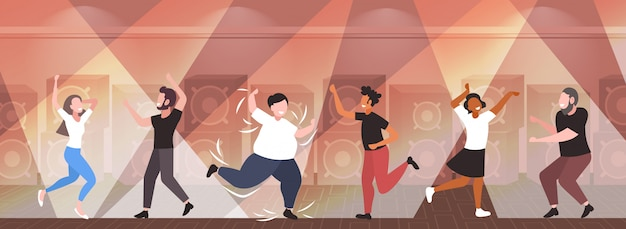 Fat obese man dancing on dance floor with mix race people on disco party weight loss concept modern night club interior