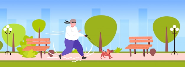 Fat obese man jogging with dog oversize fatty guy running outdoor weight loss concept urban park cityscape background horizontal full length