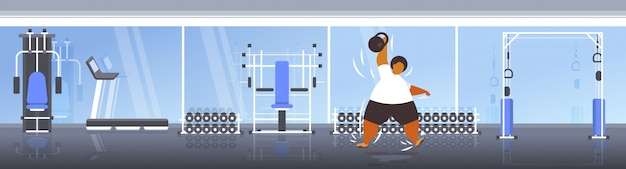 Fat obese man lifting kettlebell overweight african american guy doing exercises training workout weight loss concept modern gym interior