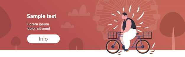 Fat obese man riding bike overweight guy cycling bicycle weight loss concept summer park ferris wheel copy space