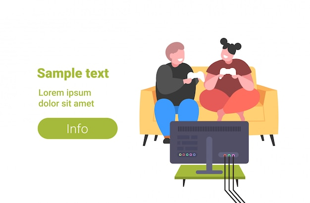 Fat obese man woman sitting on couch using joystick game pad overweight couple plying video games on tv obesity unhealthy lifestyle concept copy space horizontal  full length