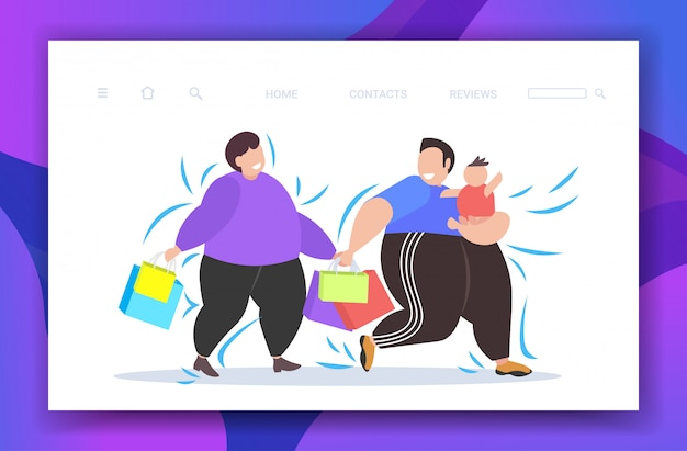 Fat obese men with child holding shopping bags overweight guys with little kid walking together big sale obesity concept copy space