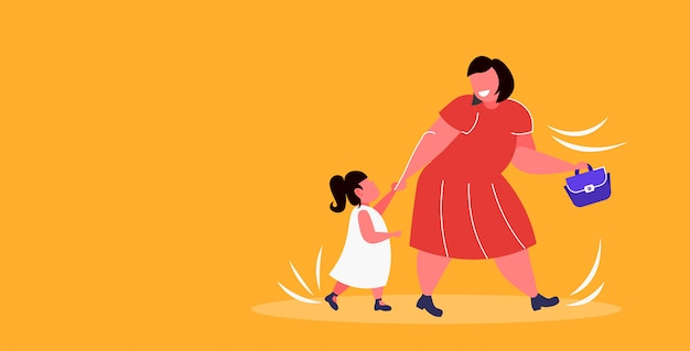 Fat obese mother with daughter holding hands overweight woman and child walking together family having fun obesity concept  full length horizontal