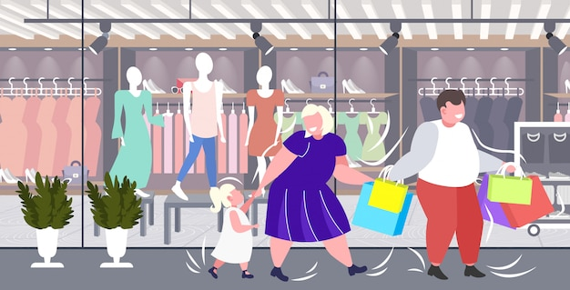 Fat obese parents with child holding shopping bags family having fun walking together holiday big sale obesity concept modern boutique fashion shop exterior