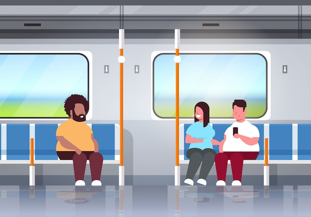Fat obese people inside subway metro train overweight mix race passengers sitting in public transport obesity concept