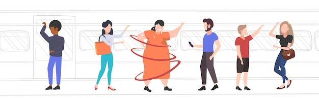 Fat obese woman inside subway metro train overweight sweaty girl with mix race passengers in public transport obesity concept
