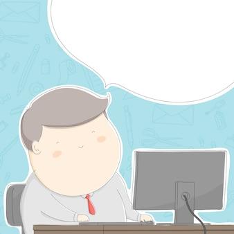 Жирный офисный человек с работой по стационарной схеме