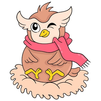 A fat owl wearing a scarf is sitting in its nest, vector illustration art. doodle icon image kawaii.