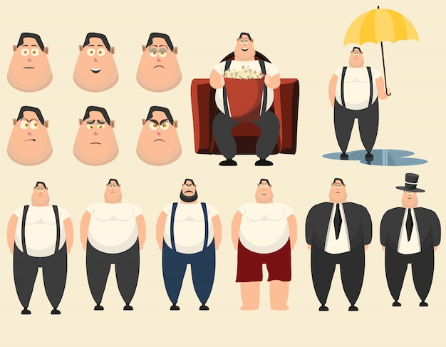 Fat people set vector illustration