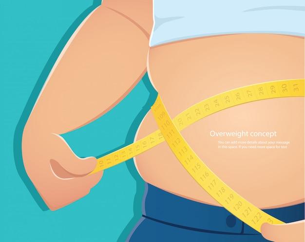 Fat person use scale to measure his waistline vector