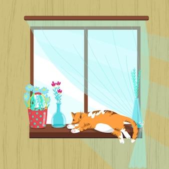 만화 스타일의 창턱 봄 그림 벡터 일러스트 레이 션에서 자고 뚱뚱한 빨간 고양이