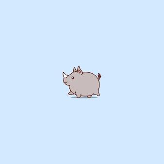 Fat rhino walking cartoon icon