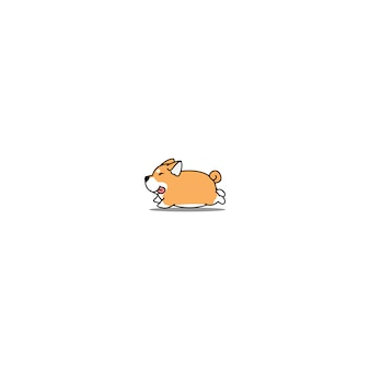Fat shiba inu dog running cartoon icon