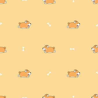 Fat shiba inu dog running cartoon seamless pattern