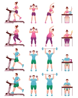 Fat slim fitness people icon set