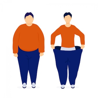 Fat and slim man before and after weight loss